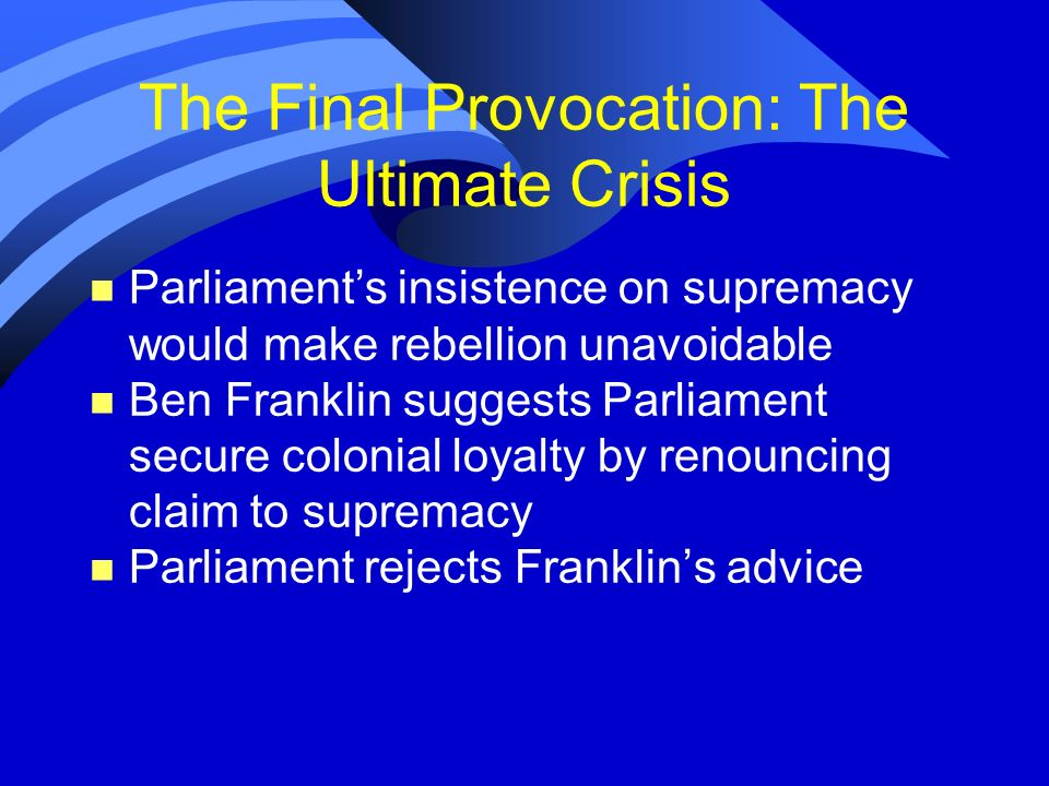 The Final Provocation: The Ultimate Crisis