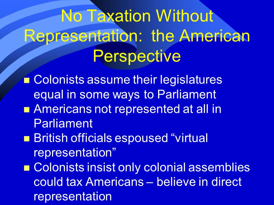 No Taxation Without Representation: the American Perspective