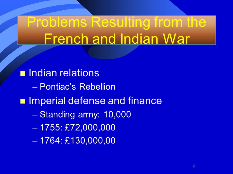 Problems Resulting from the French and Indian War