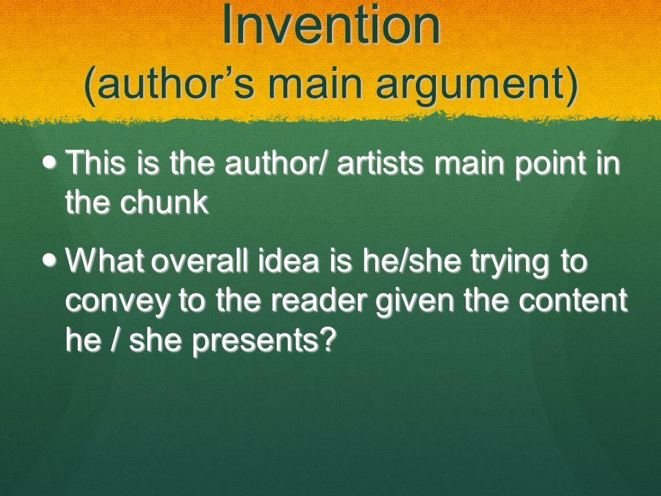 Invention (author's main argument)