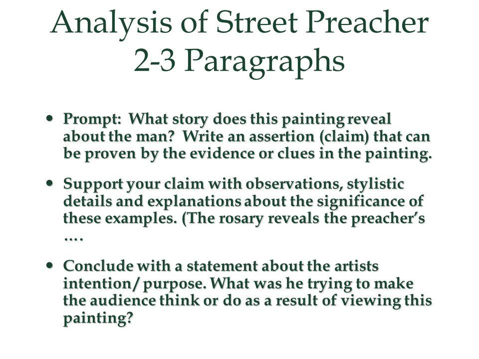 Analysis of Street Preacher 2-3 Paragraphs