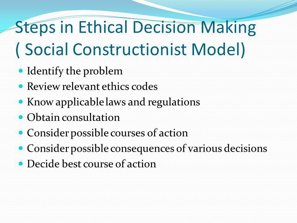 Steps in Ethical Decision Making ( Social Constructionist Model)