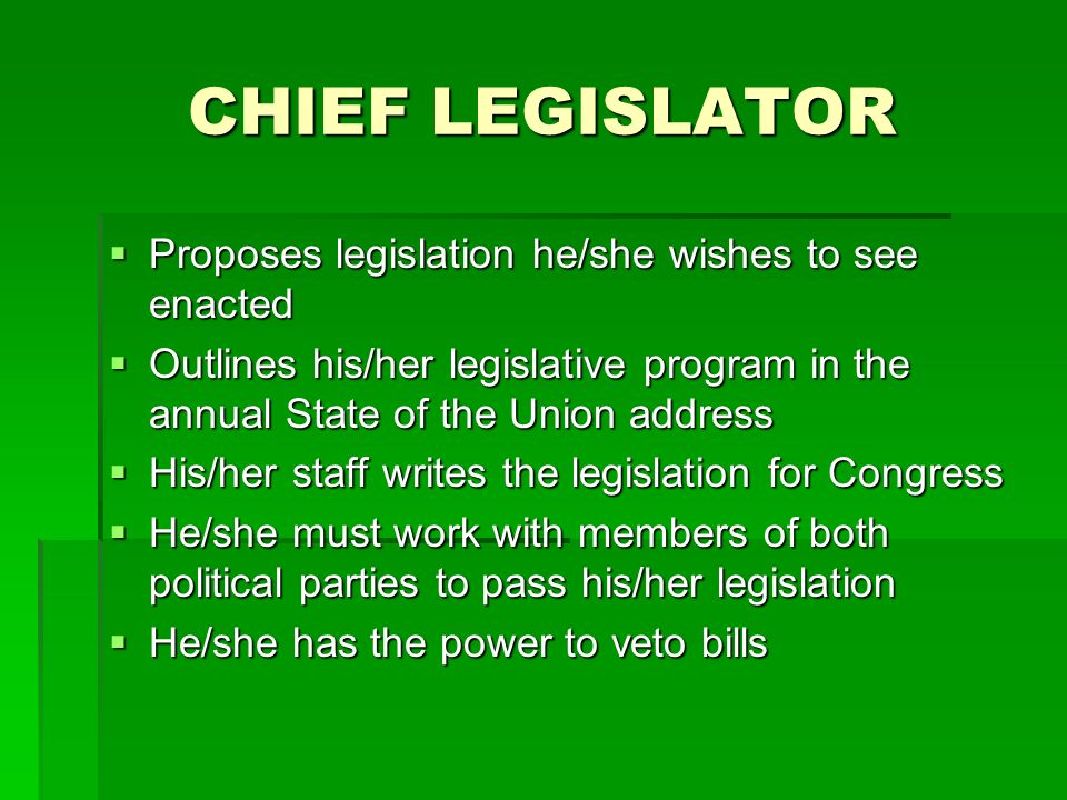 CHIEF LEGISLATOR Proposes legislation he/she wishes to see enacted
