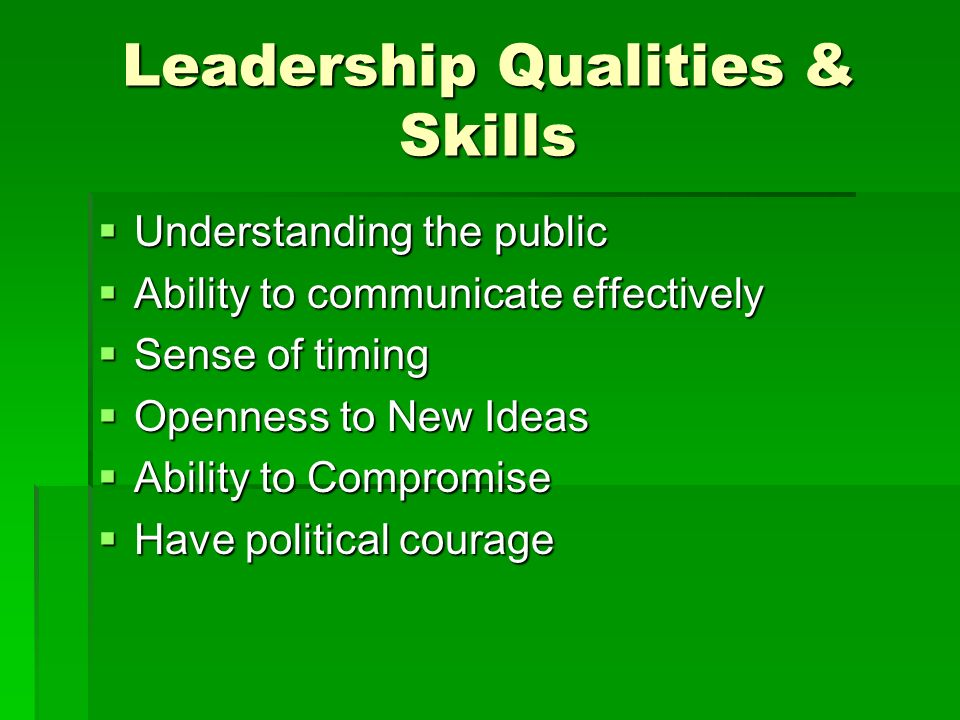 Leadership Qualities & Skills