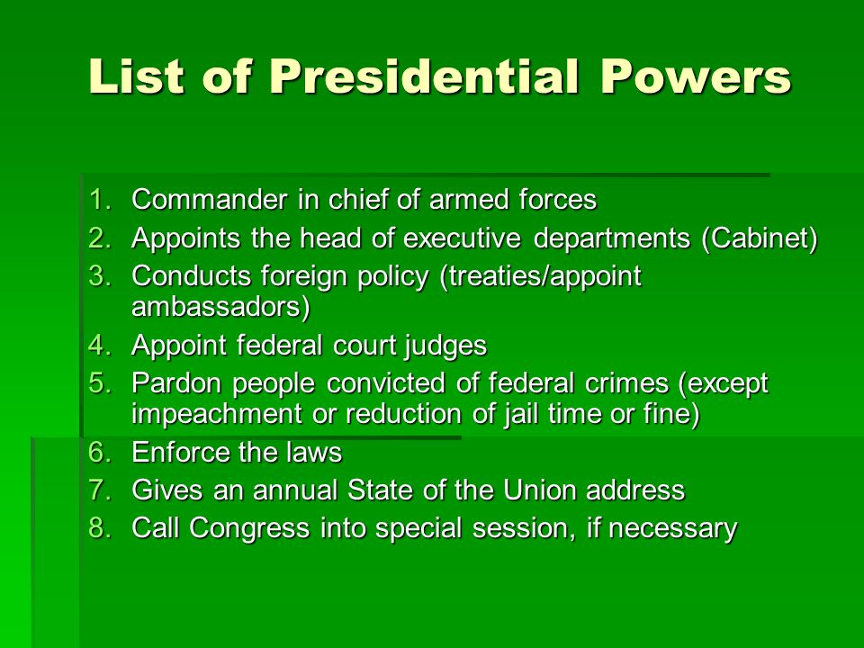 List of Presidential Powers