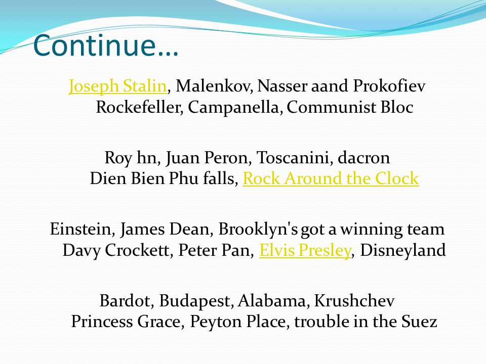 Continue… Joseph Stalin, Malenkov, Nasser aand Prokofiev Rockefeller, Campanella, Communist Bloc.