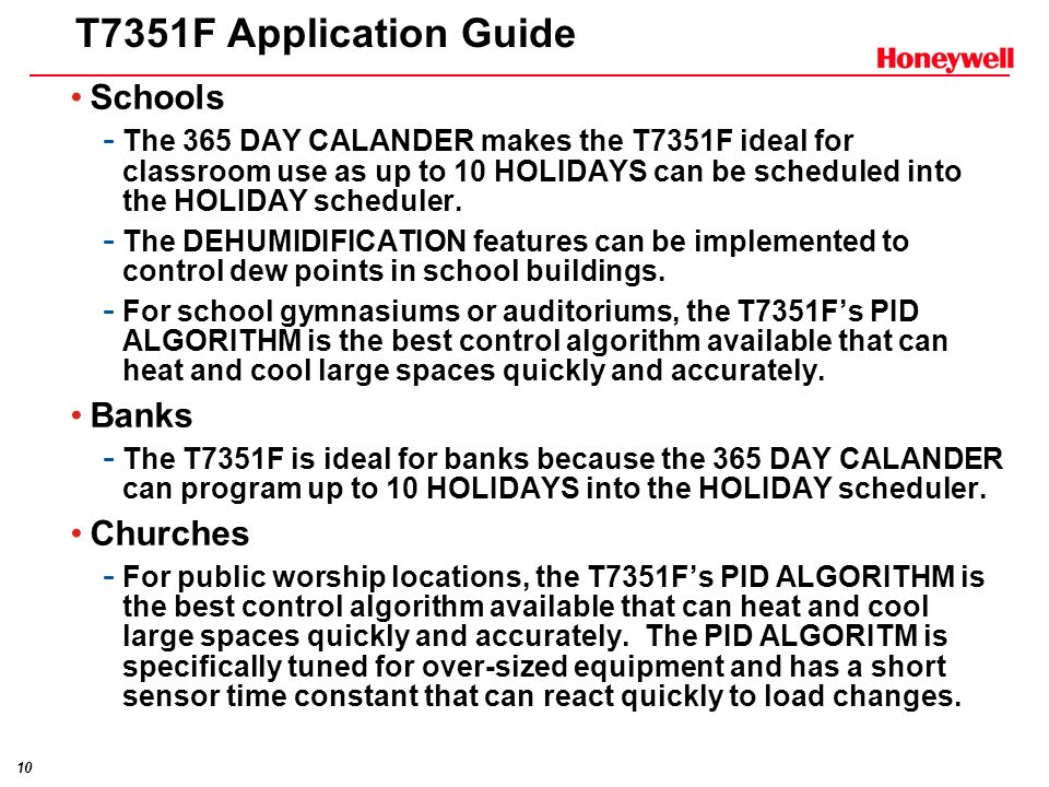 T7351F Application Guide Schools Banks Churches