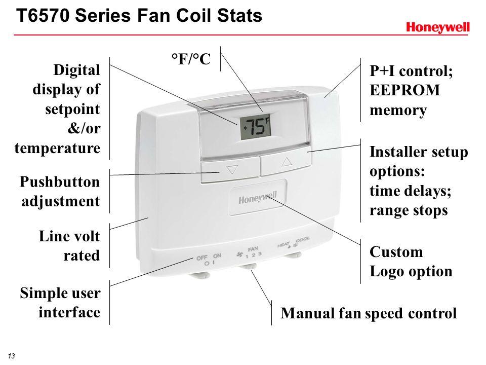 T6570 Series Fan Coil Stats °F/°C