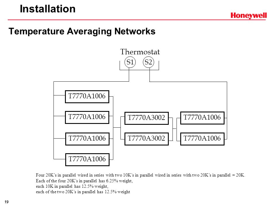 Installation Temperature Averaging Networks Thermostat S1 S2