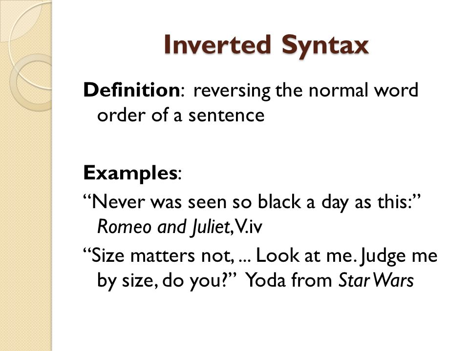 Inverted Syntax