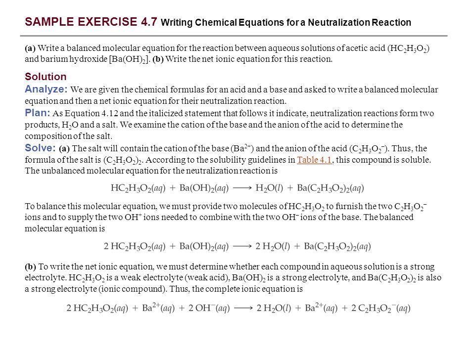 SAMPLE EXERCISE 4.7 Writing Chemical Equations for a Neutralization Reaction