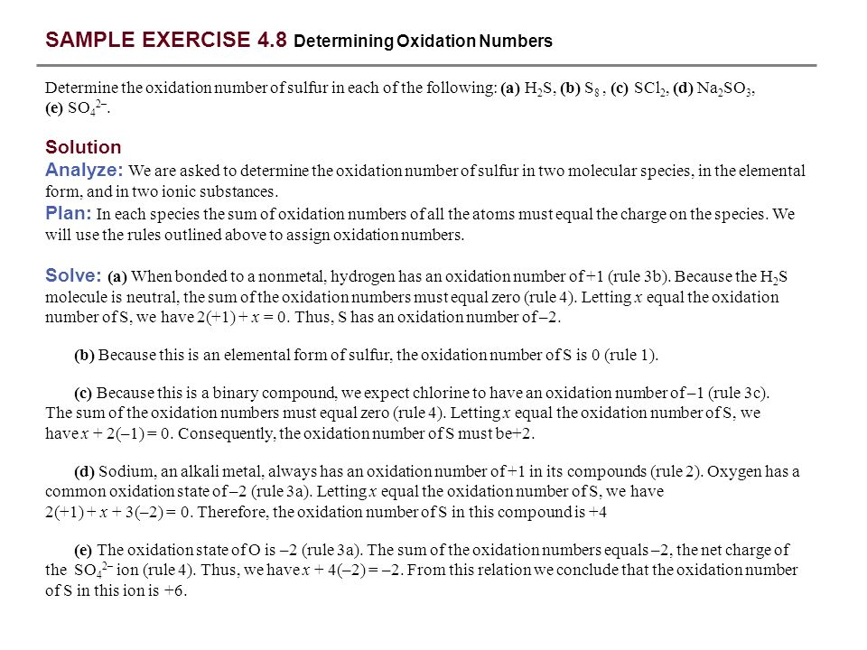SAMPLE EXERCISE 4.8 Determining Oxidation Numbers