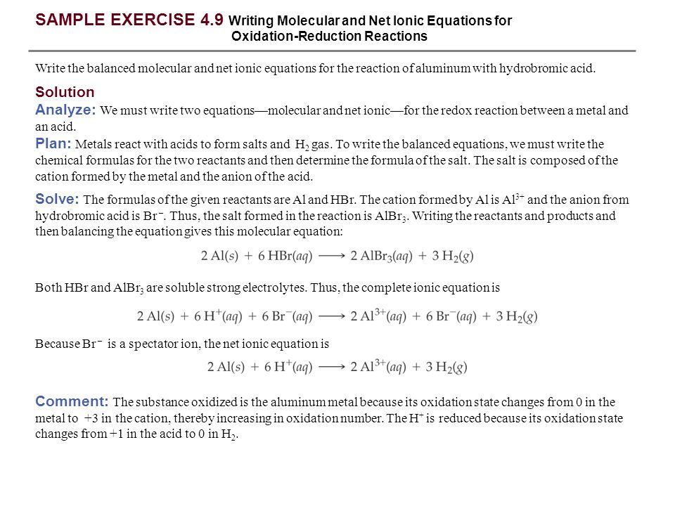SAMPLE EXERCISE 4.9 Writing Molecular and Net Ionic Equations for