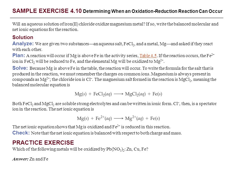 SAMPLE EXERCISE 4.10 Determining When an Oxidation-Reduction Reaction Can Occur