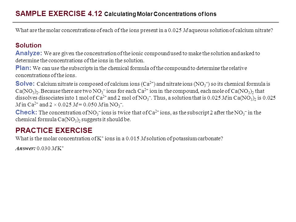 SAMPLE EXERCISE 4.12 Calculating Molar Concentrations of Ions