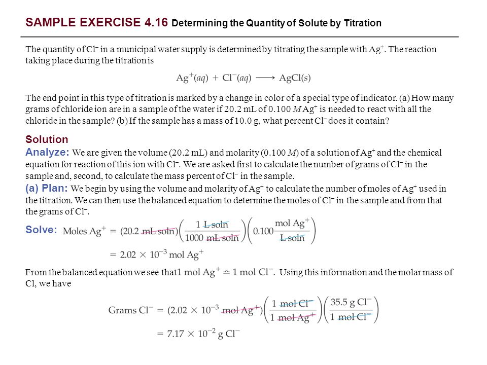 SAMPLE EXERCISE 4.16 Determining the Quantity of Solute by Titration