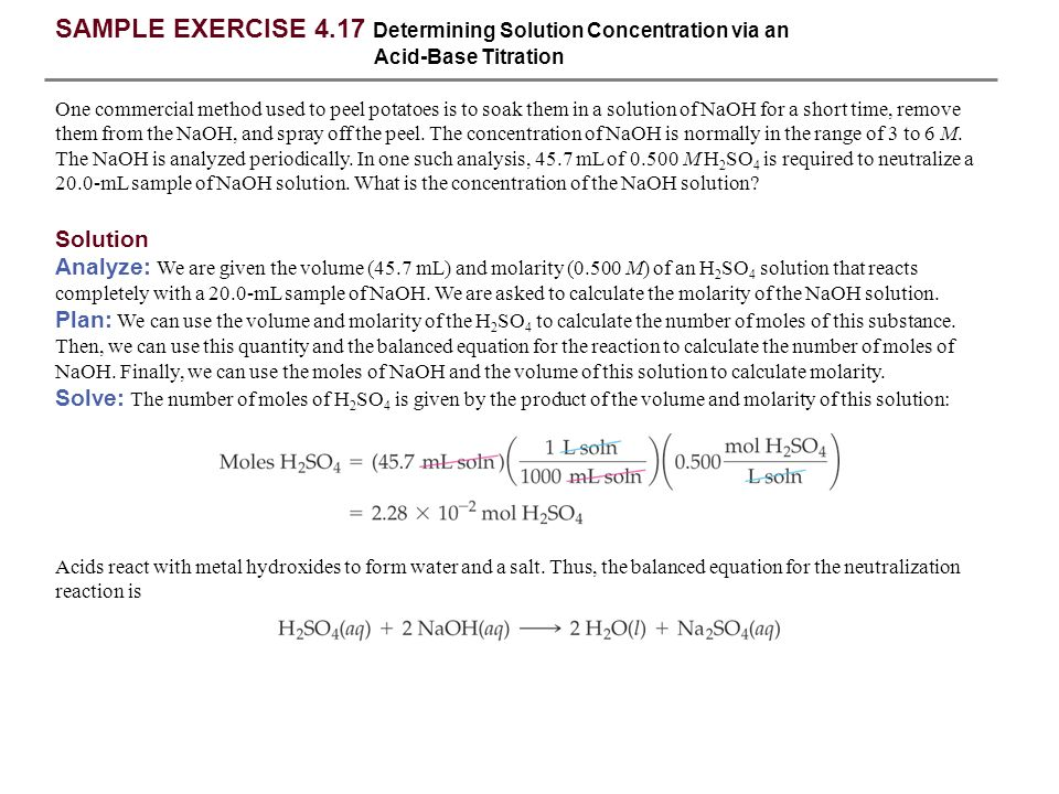 SAMPLE EXERCISE 4.17 Determining Solution Concentration via an