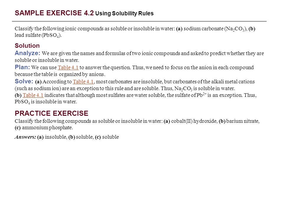 SAMPLE EXERCISE 4.2 Using Solubility Rules