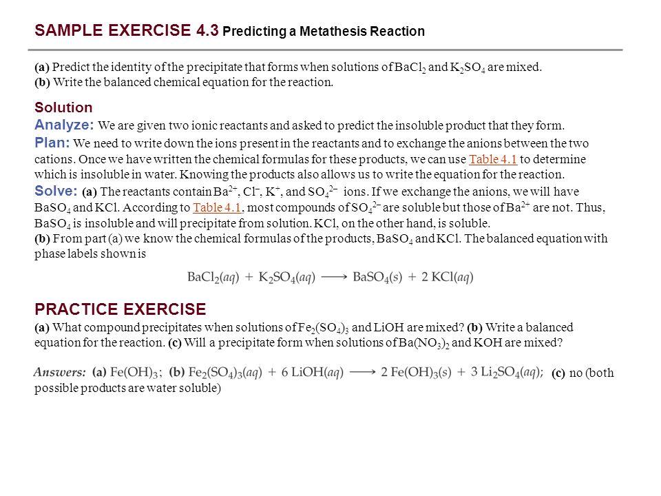 metathesis balanced equation