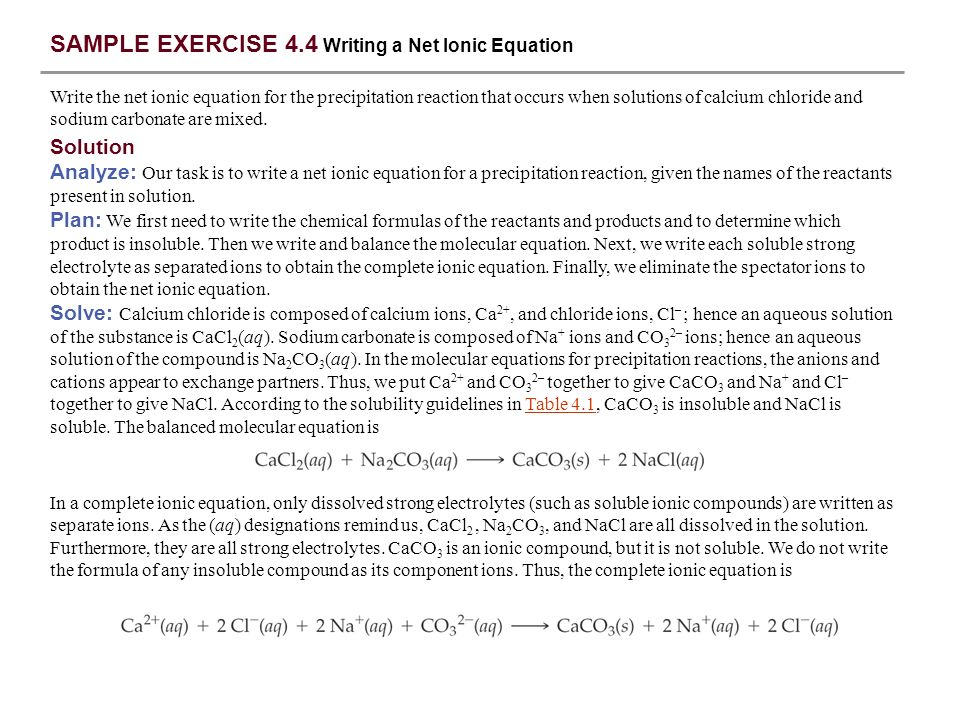 SAMPLE EXERCISE 4.4 Writing a Net Ionic Equation