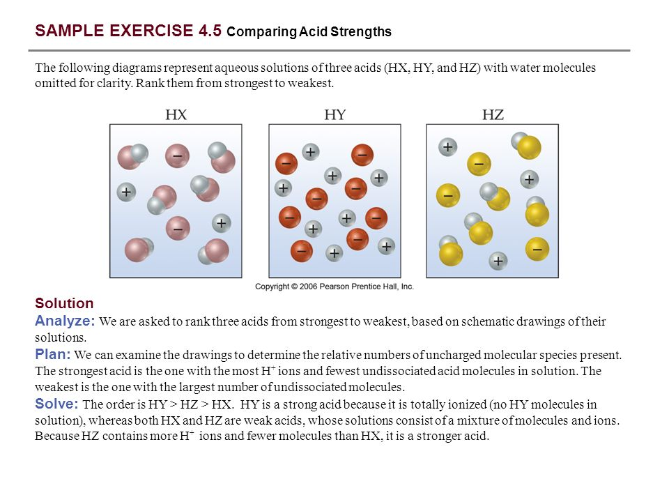 SAMPLE EXERCISE 4.5 Comparing Acid Strengths