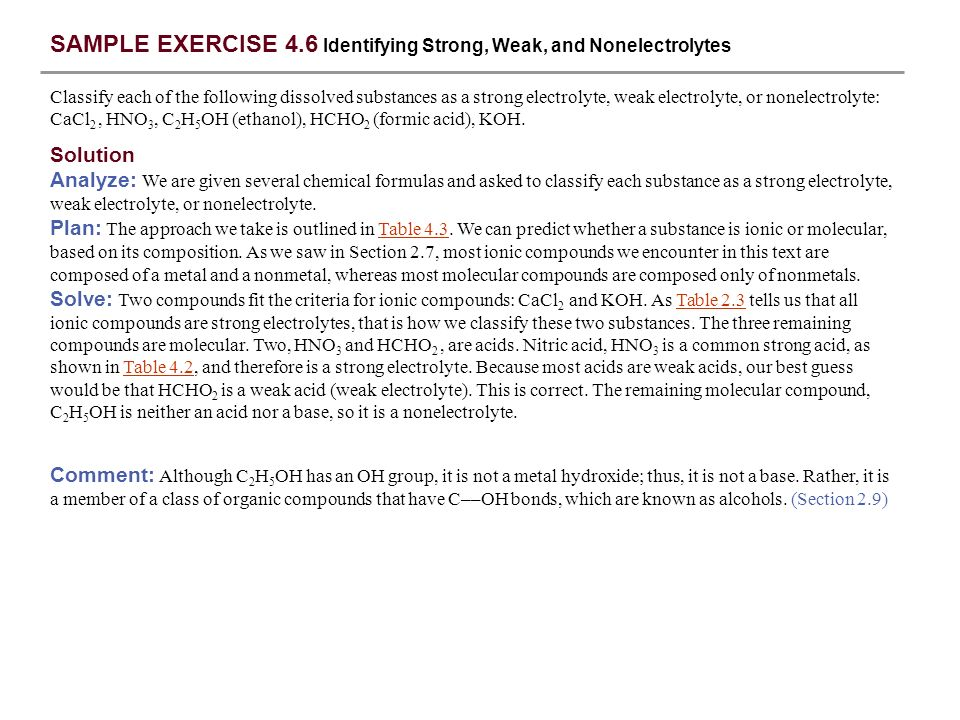 SAMPLE EXERCISE 4.6 Identifying Strong, Weak, and Nonelectrolytes