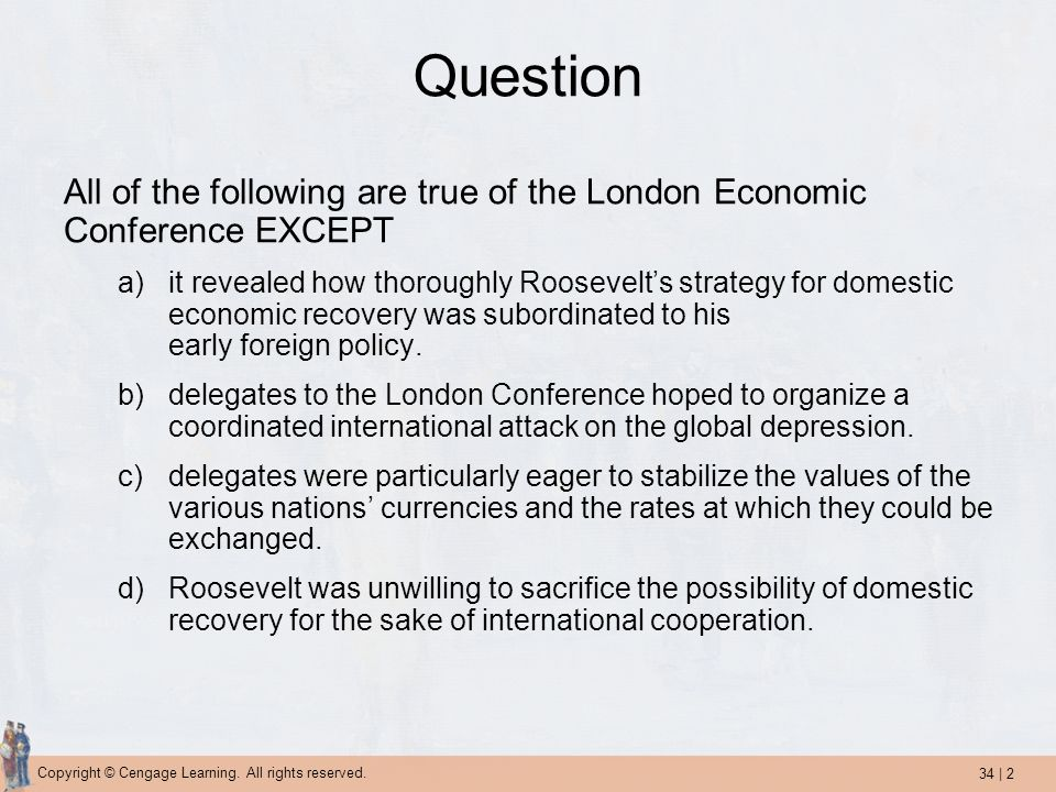 Question All of the following are true of the London Economic Conference EXCEPT.
