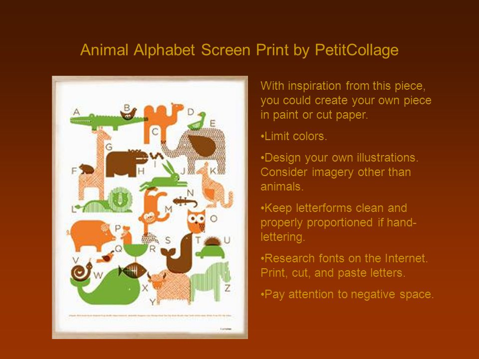 Animal Alphabet Screen Print by PetitCollage