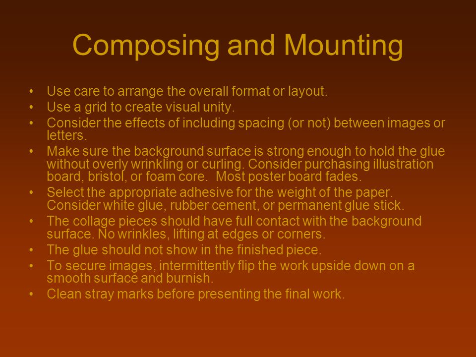 Composing and Mounting