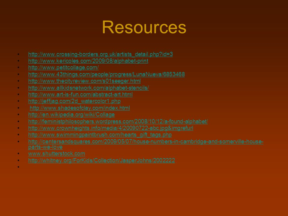 Resources http://www.crossing-borders.org.uk/artists_detail.php id=3