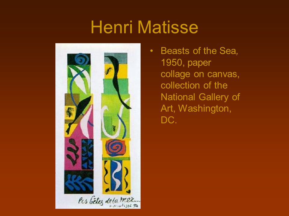 Henri MatisseBeasts of the Sea, 1950, paper collage on canvas, collection of the National Gallery of Art, Washington, DC.