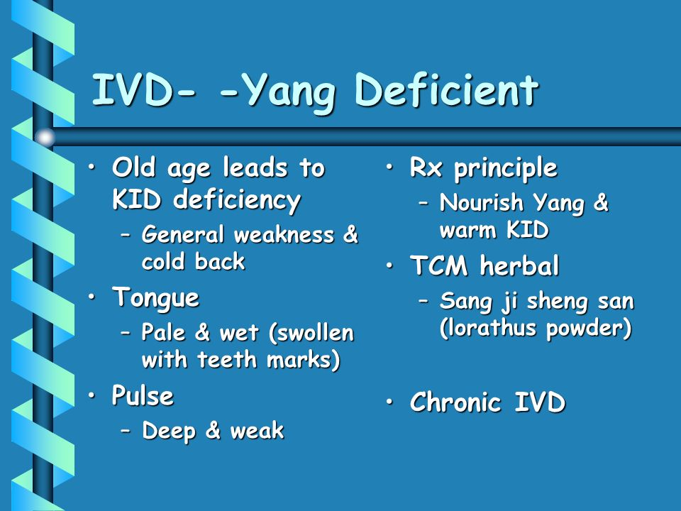 IVD- -Yang Deficient Old age leads to KID deficiency Tongue Pulse