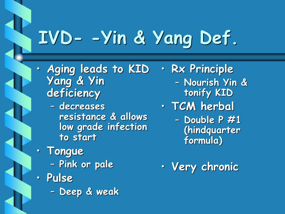 IVD- -Yin & Yang Def. Aging leads to KID Yang & Yin deficiency Tongue
