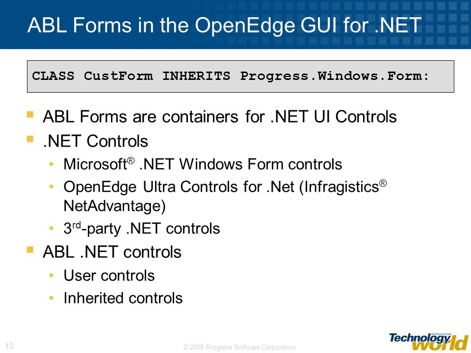 ABL Forms in the OpenEdge GUI for .NET