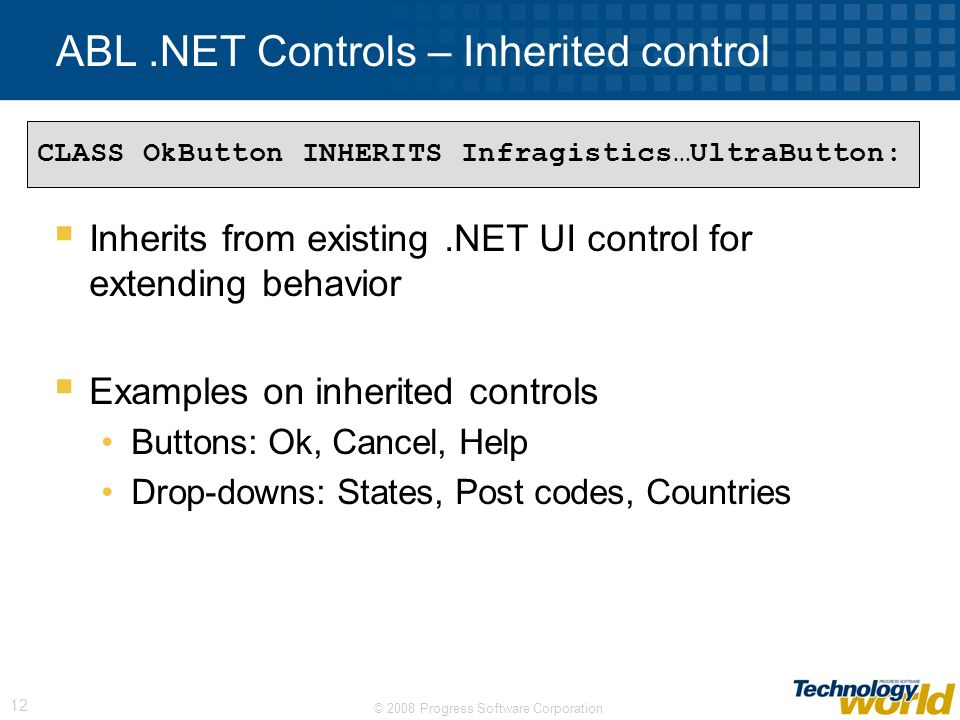ABL .NET Controls – Inherited control