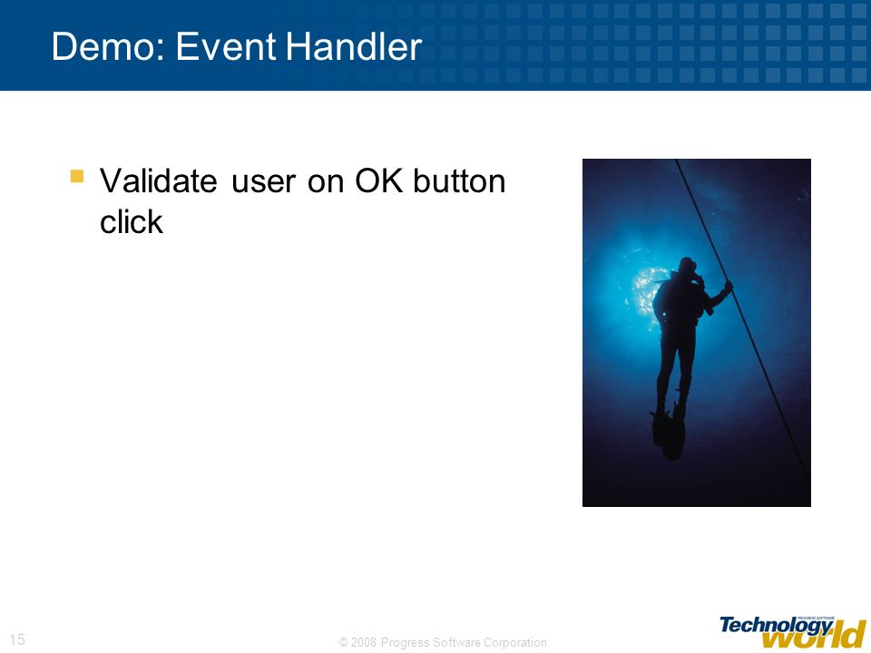 Demo: Event Handler Validate user on OK button click