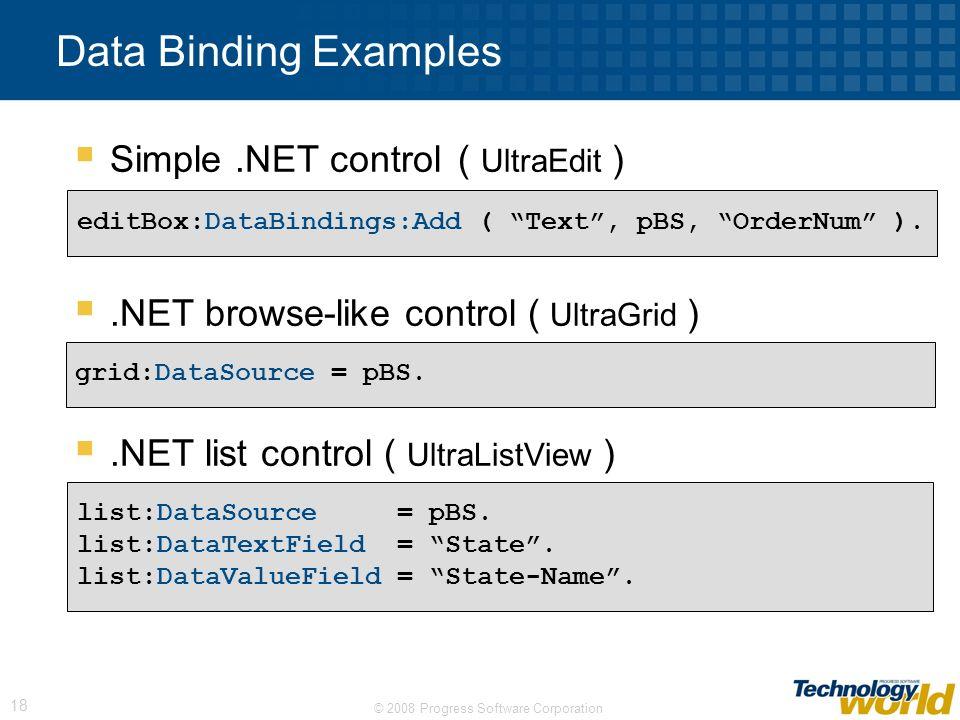 Data Binding Examples Simple .NET control ( UltraEdit )
