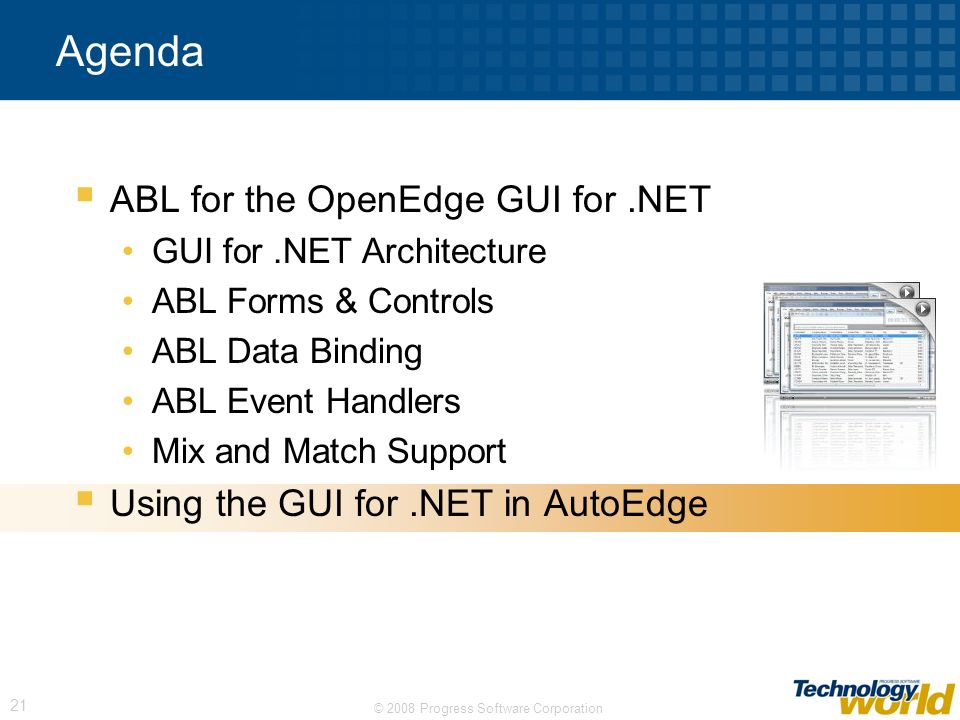 Agenda ABL for the OpenEdge GUI for .NET