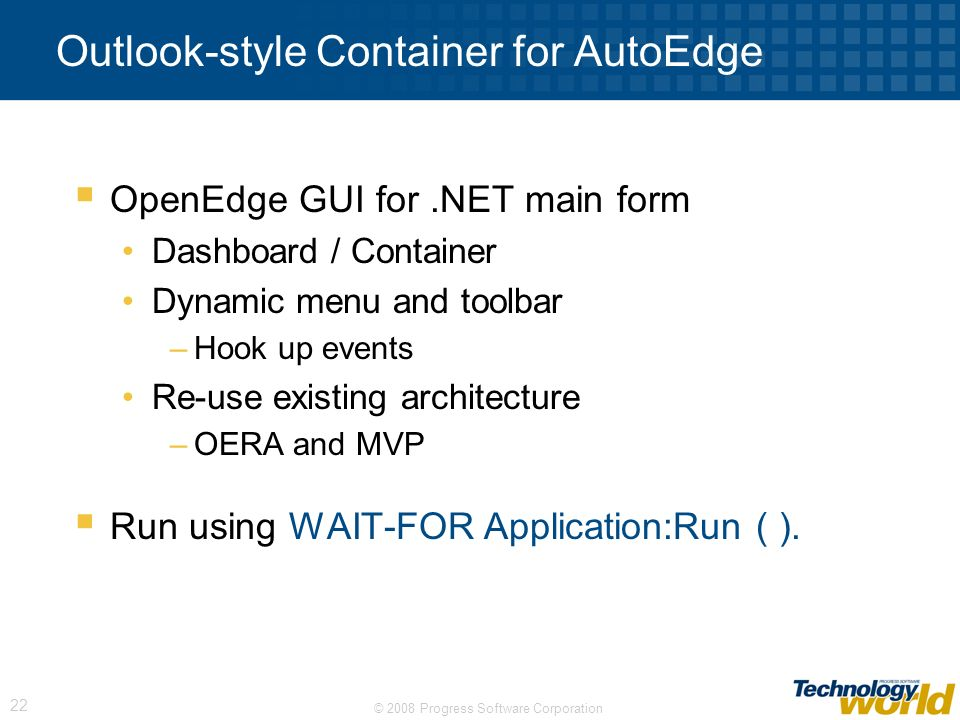 Outlook-style Container for AutoEdge