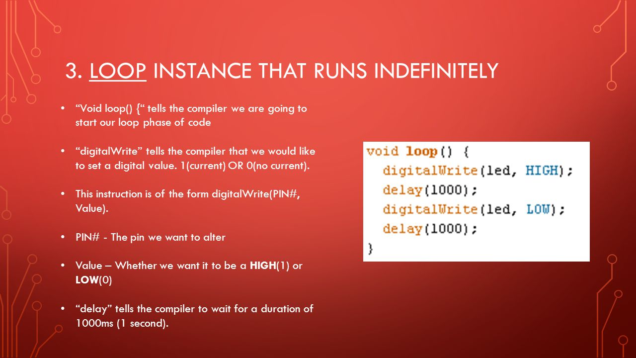 3. Loop instance that runs indefinitely