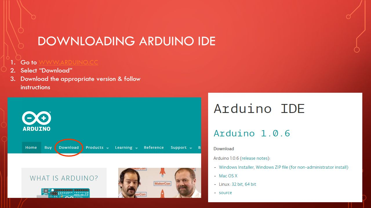 Downloading Arduino ide