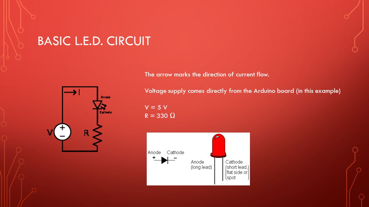 Basic l.e.d. circuit The arrow marks the direction of current flow.