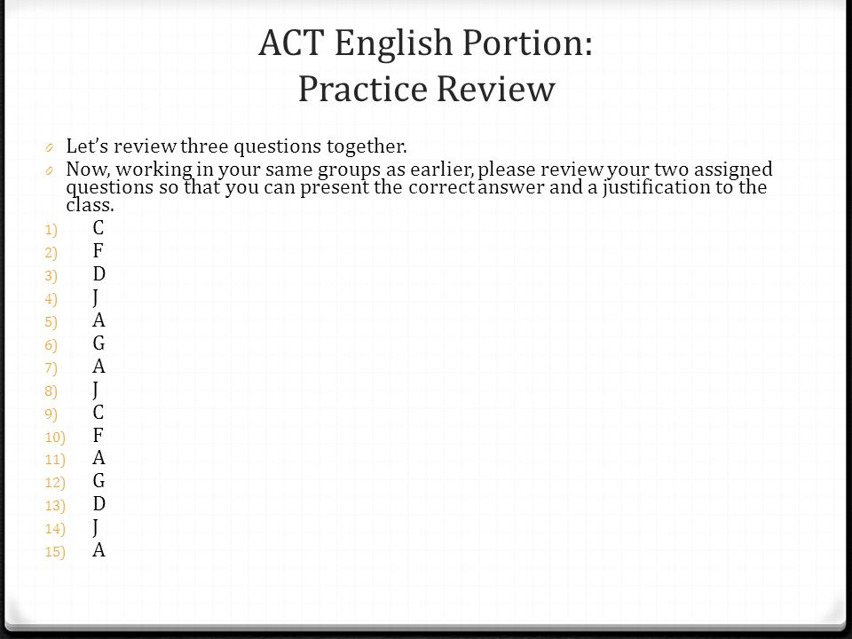 ACT English Portion: Practice Review