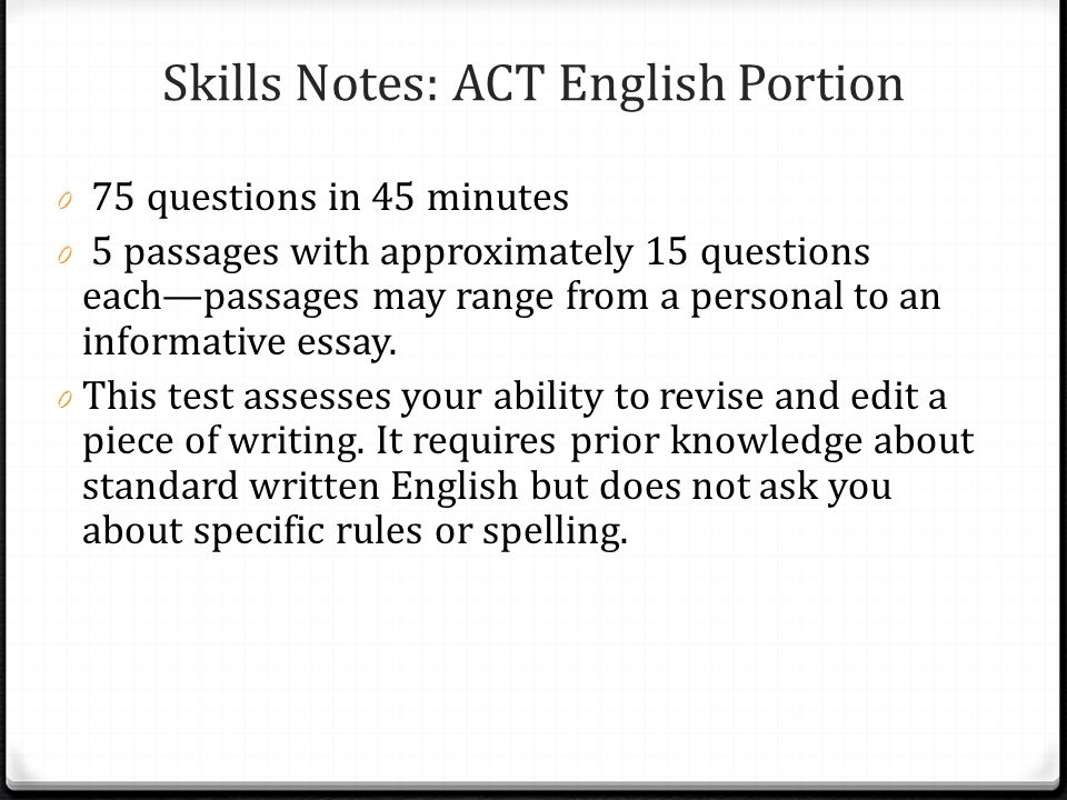 Skills Notes: ACT English Portion
