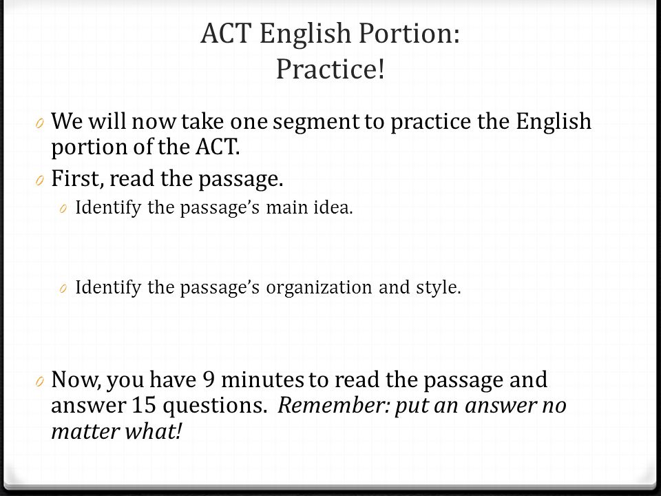 ACT English Portion: Practice!