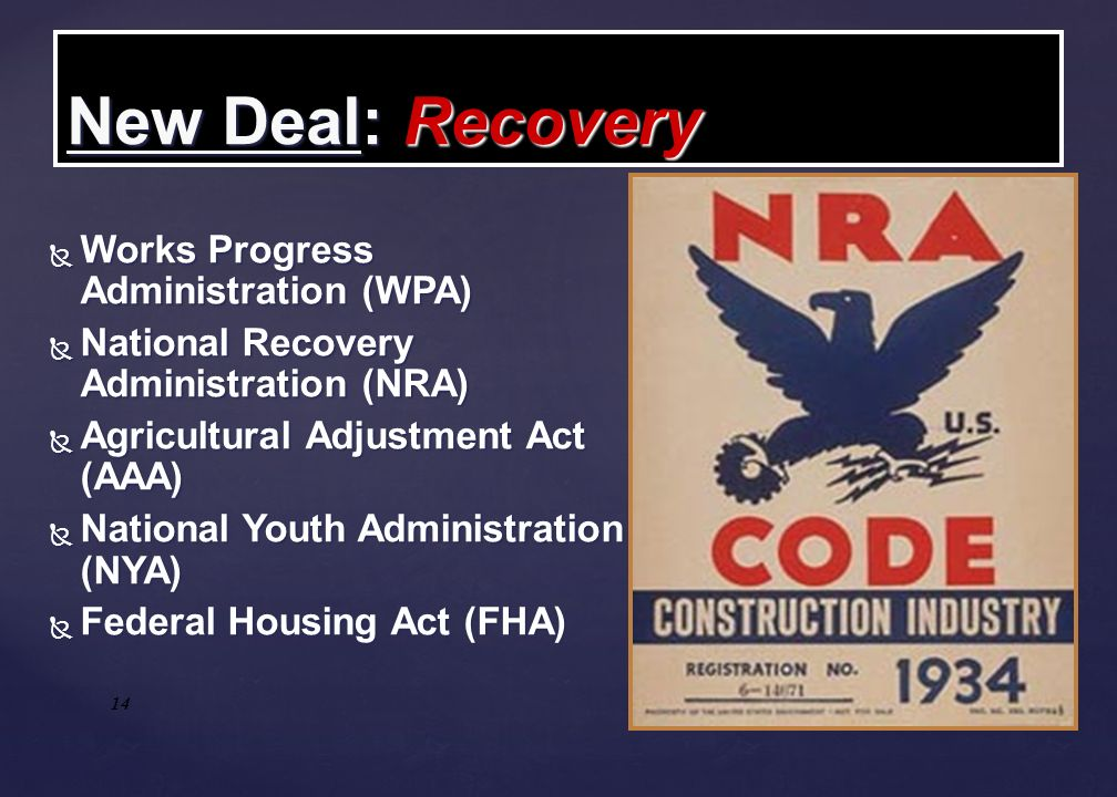 New Deal: Recovery Works Progress Administration (WPA)‏