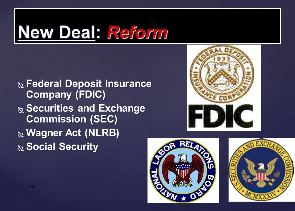 New Deal: Reform Federal Deposit Insurance Company (FDIC)‏