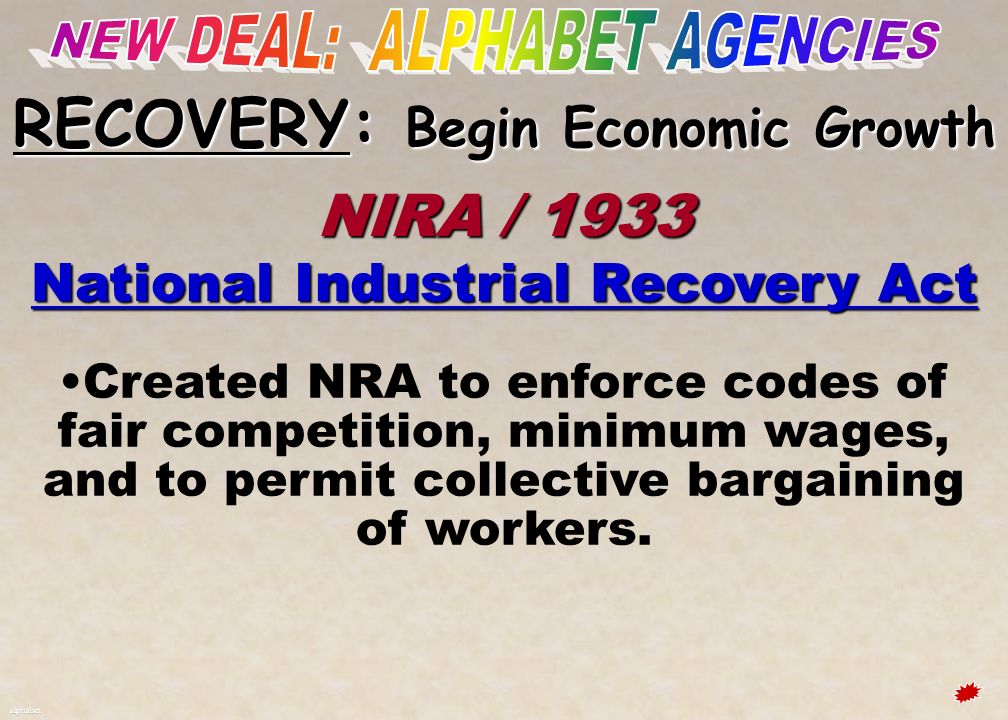 NEW DEAL: ALPHABET AGENCIES RECOVERY: Begin Economic Growth