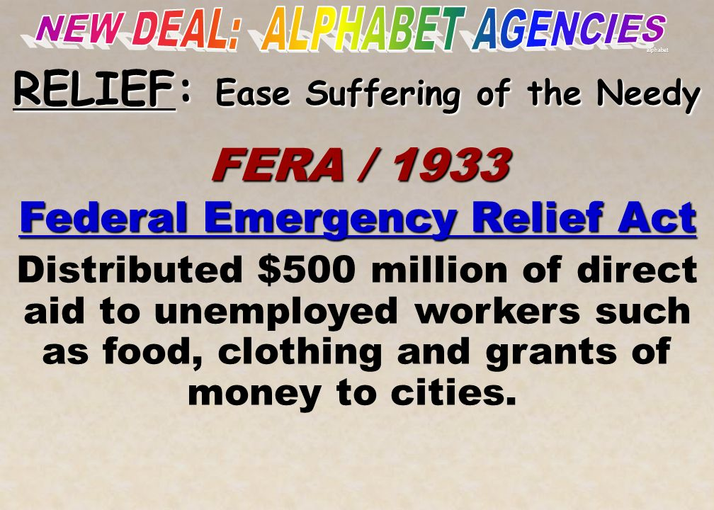 NEW DEAL: ALPHABET AGENCIES RELIEF: Ease Suffering of the Needy