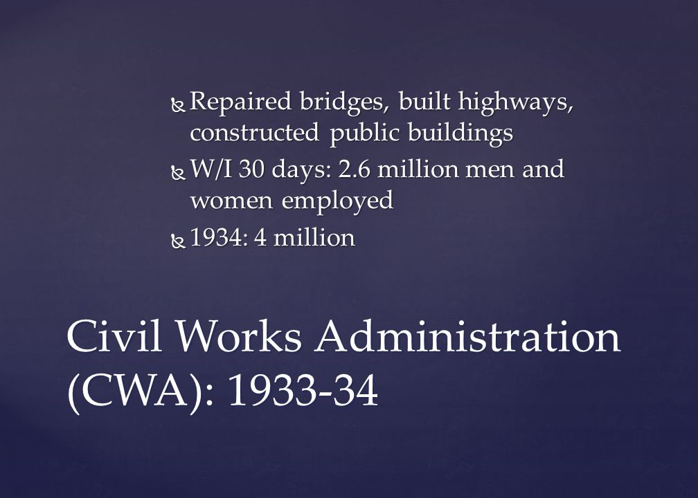Civil Works Administration (CWA): 1933-34